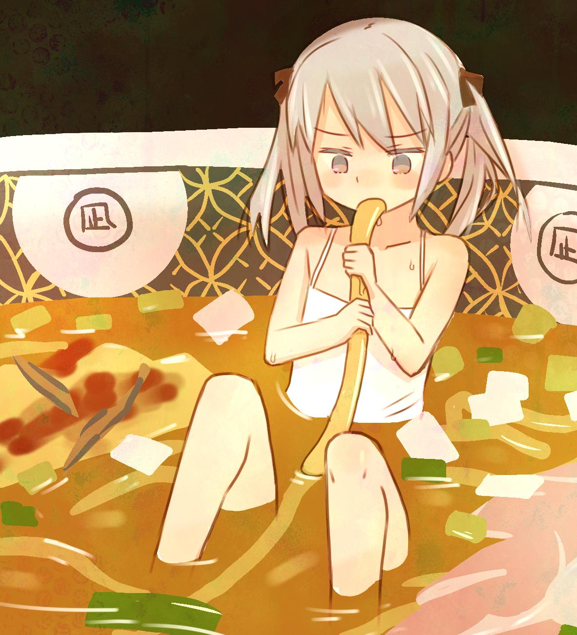 1girl bangs black_ribbon blush camisole collarbone copyright_request eating eyebrows_visible_through_hair flat_chest food highres in_bowl in_container in_food noodles ramen ribbon sitting twintails zakone