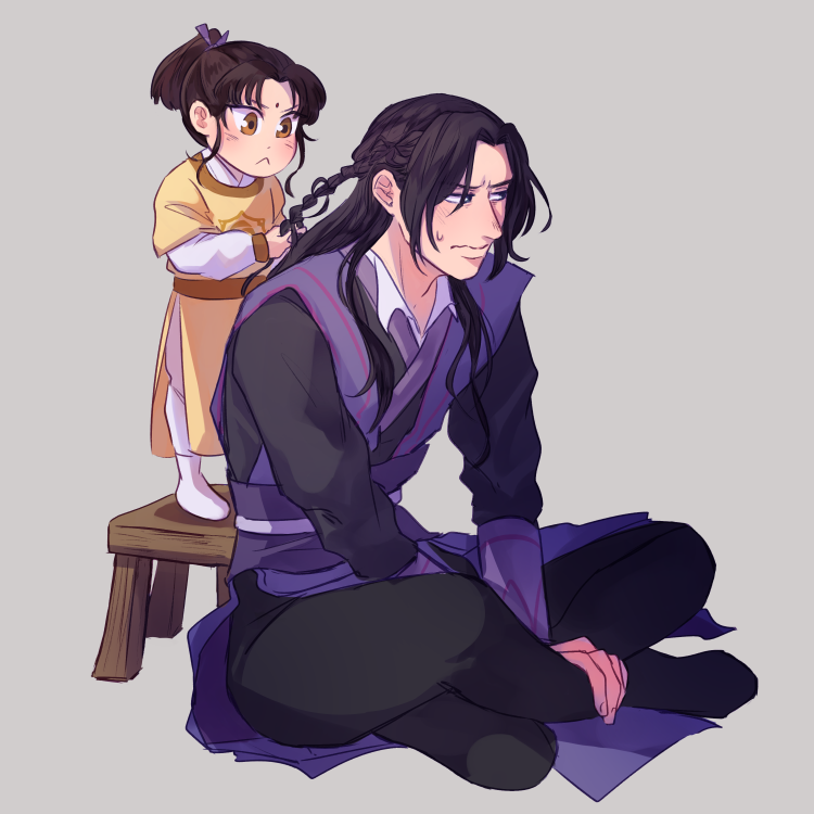 2boys black_hair braiding_hair child collabel_(amy) crossed_legs facial_mark forehead_mark frown grey_background hairdressing jiang_cheng jin_ling long_hair long_sleeves male_focus mo_dao_zu_shi multiple_boys ponytail sidelocks sitting standing stool sweatdrop
