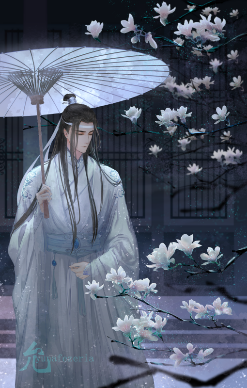 1boy artist_name black_hair closed_eyes flower headband holding holding_umbrella long_hair long_sleeves mo_dao_zu_shi oriental_umbrella solo standing umbrella very_long_hair wangji_lan watermark white_headband white_robe yun-afezeria