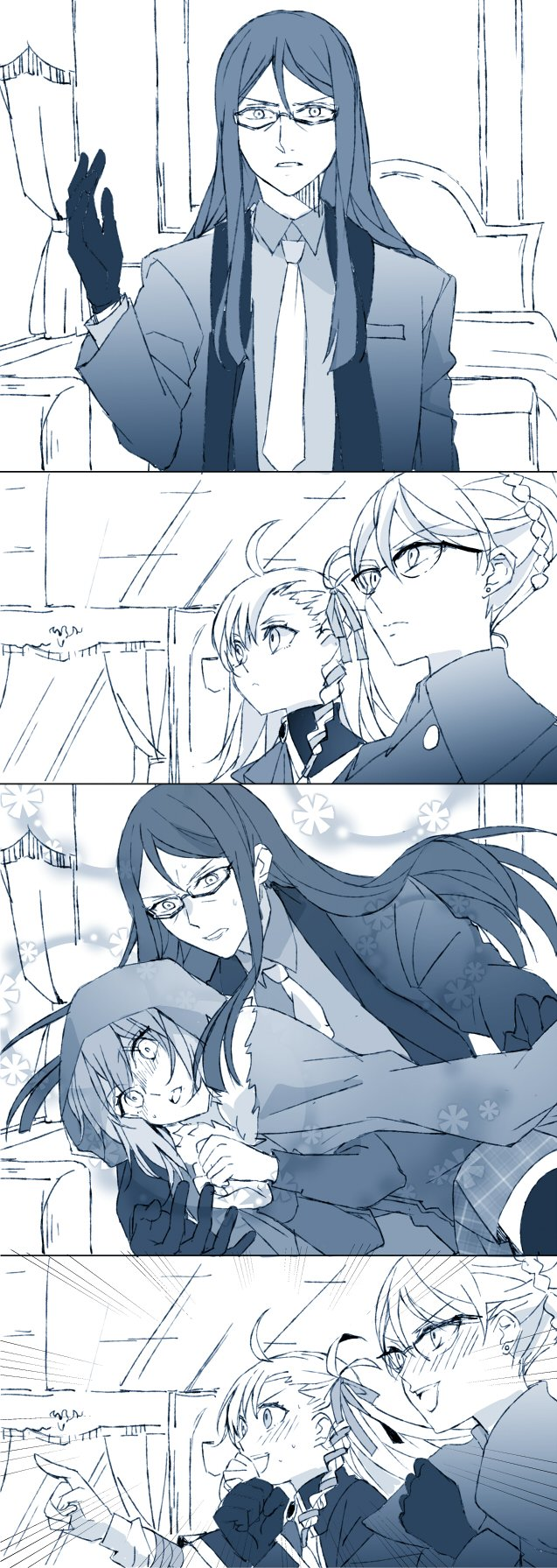 1boy 3girls ahoge ascot bangs bed blanket blush braid breast_pocket buttons cape ceiling clenched_hands cloak closed_mouth coat collared_shirt commentary constricted_pupils curtains earrings emphasis_lines eyebrows_visible_through_hair fate/grand_order fate_(series) formal french_braid frown fur_trim gaijin_4koma glasses gloves gray_(lord_el-melloi_ii) hair_between_eyes hair_bun hair_ribbon hands_together highres hood hood_up indoors jewelry long_hair long_sleeves looking_at_viewer lord_el-melloi_ii lord_el-melloi_ii_case_files multiple_girls necktie olga_marie_animusphere open_mouth parody parted_lips picture_frame pocket pointing ribbon round_teeth semi-rimless_eyewear shirt side_braid skirt smile suit sweat sweating_profusely teeth trisha_fellows wall waver_velvet window younger