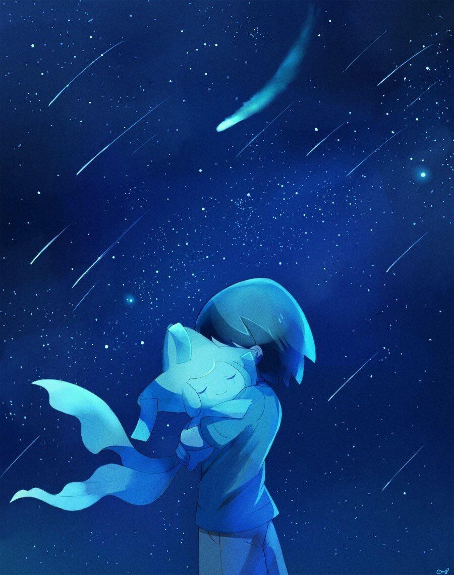 1boy artist_name bangs child closed_eyes closed_mouth from_side gen_3_pokemon happy hug jirachi jpeg_artifacts legendary_pokemon male_focus masato_(pokemon) mei_(maysroom) monochrome night night_sky outdoors pokemon pokemon_(anime) pokemon_(creature) pokemon_m06 pokemon_rse_(anime) shirt shooting_star short_sleeves shorts signature sky smile standing star_(sky) starry_sky