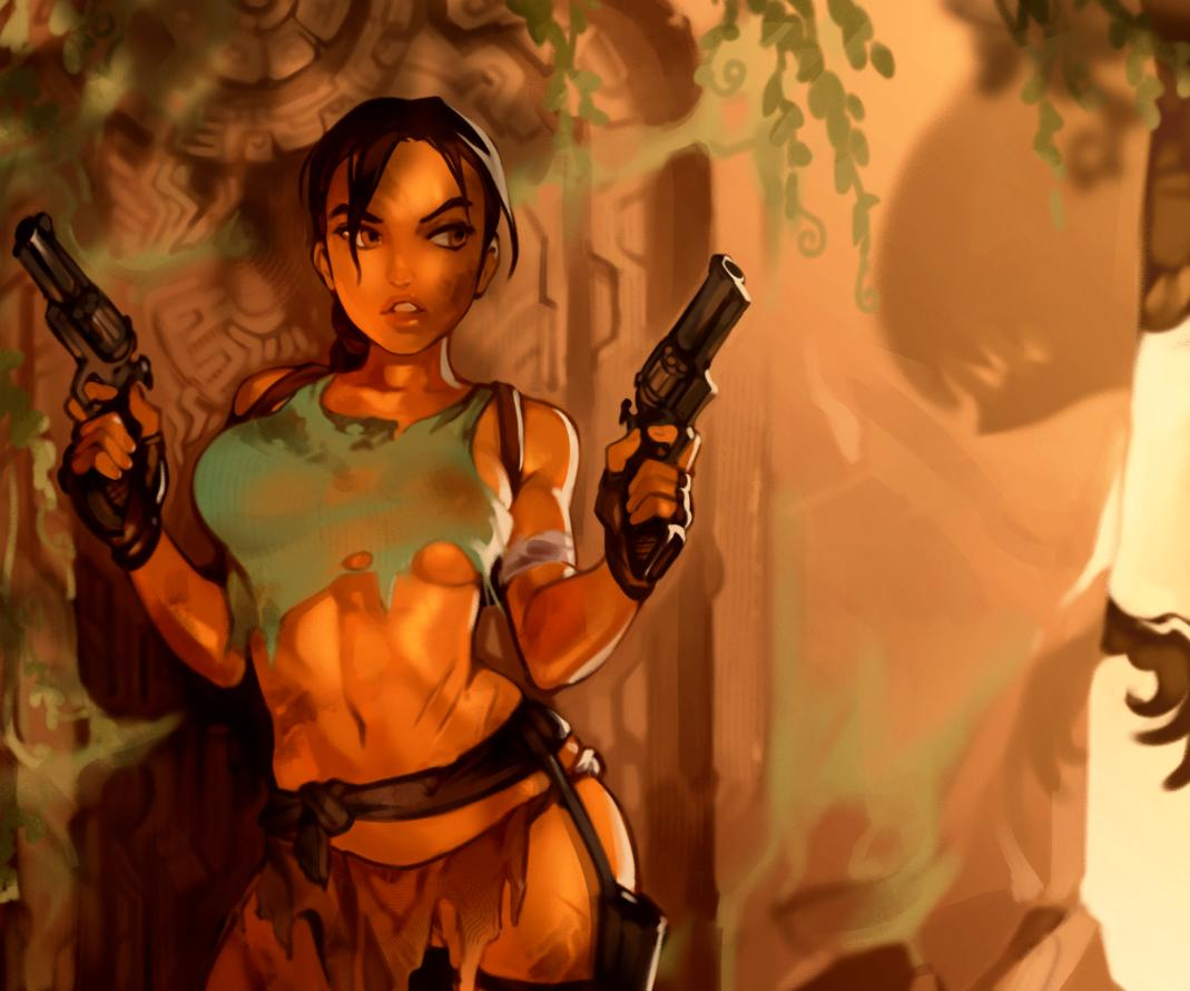 1girl adapted_costume against_wall backpack bag black_gloves braid breasts brown_eyes brown_hair cocked_hammer commentary contrapposto dappled_sunlight dirty_clothes dirty_face dual_wielding english_commentary finger_on_trigger fingerless_gloves gloves gun handgun holding holding_gun holding_weapon holster lara_croft large_breasts lips loincloth long_hair looking_to_the_side navel no_bra pistol revolver ruins scar single_braid solo standing stomach sunlight tank_top thigh_holster tomb_raider torn_clothes typo_(requiemdusk) under_boob weapon