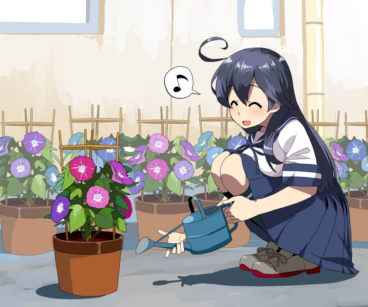 1girl ^_^ ahoge bangs blue_hair blue_skirt blush breast_press breasts closed_eyes day eyebrows_visible_through_hair flower flower_pot holding holding_watering_can kantai_collection kozou_(rifa) large_breasts long_hair musical_note open_mouth outdoors plant pleated_skirt potted_plant sailor_collar school_uniform serafuku short_sleeves skirt socks solo speech_bubble squatting ushio_(kantai_collection) watering_can