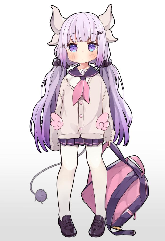 1girl azur_lane backpack bag blush commentary_request cosplay full_body hair_ornament hair_scrunchie horns kanna_kamui kobayashi-san_chi_no_maidragon long_hair looking_at_viewer low_twintails neckerchief pantyhose pigeon-toed pleated_skirt purple_hair sailor_collar scrunchie simple_background skirt solo standing tail tsuka twintails unicorn_(amusement_park_date)_(azur_lane) unicorn_(azur_lane) unicorn_(azur_lane)_(cosplay) very_long_hair violet_eyes white_background white_legwear x_hair_ornament