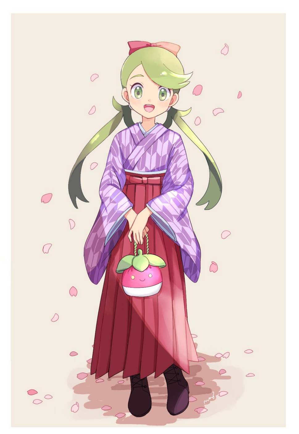 1girl alternate_costume artist_name black_footwear boots border bounsweet bow brown_background chestnut_mouth cross-laced_footwear flat_chest full_body gen_7_pokemon green_eyes green_hair hair_bow hair_tie hakama hands_together happy highres holding japanese_clothes kimono lace-up_boots long_hair long_sleeves looking_at_viewer mao_(pokemon) mei_(maysroom) open_mouth petals pokemon pokemon_(game) pokemon_sm purple_kimono red_bow red_hakama signature simple_background smile solo standing teeth tied_hair twintails white_border wide_sleeves yagasuri