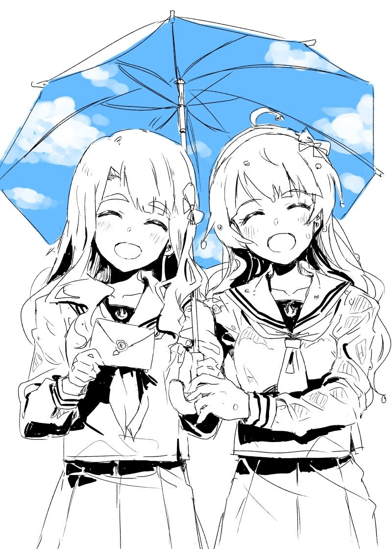 2girls blue_sky breasts check_commentary closed_eyes clouds cloudy_sky collarbone commentary_request day double_exposure double_horizontal_stripe eyebrows_visible_through_hair facing_viewer hairband happy head_tilt high_contrast holding holding_umbrella idolmaster idolmaster_million_live! idolmaster_million_live!_theater_days light_blush long_hair long_sleeves miyao_miya multiple_girls open_mouth outdoors pleated_skirt school_uniform serafuku shimabara_elena shirt side_slit sketch skirt sky tai0201 thick_eyebrows umbrella upper_body walking