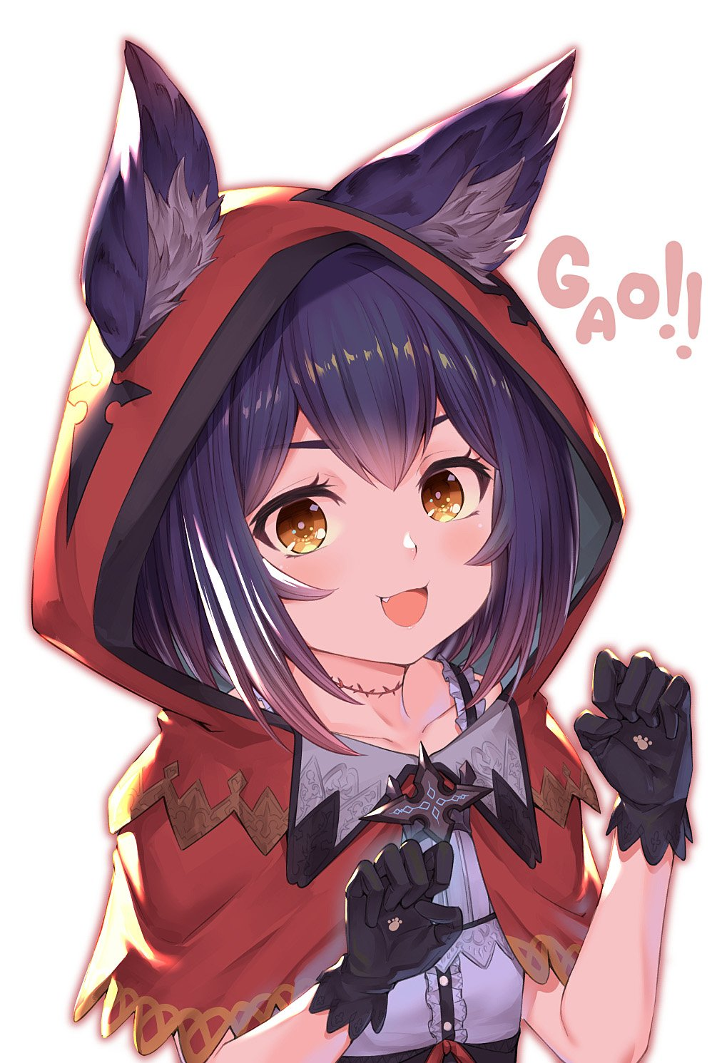 1girl :d akanagi_youto animal_ears bangs black_gloves blush capelet claw_pose collarbone commentary_request fang gloves hands_up highres hood hooded_capelet looking_at_viewer open_mouth original paw_print purple_hair red_capelet red_hood shirt short_hair simple_background smile solo stitches upper_body white_background white_shirt wolf_ears yellow_eyes