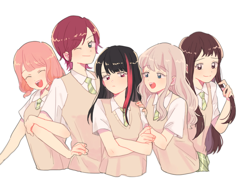 5girls :d ;) ^_^ afterglow_(bang_dream!) alternate_hair_length alternate_hairstyle aoba_moca bang_dream! bangs black_hair blue_eyes brown_eyes closed_eyes commentary_request cropped_torso green_eyes green_neckwear green_skirt hand_on_another's_shoulder hand_on_hip haneoka_school_uniform hazawa_tsugumi korean_commentary locked_arms long_hair looking_at_viewer low_twintails mitake_ran multicolored_hair multiple_girls necktie one_eye_closed open_mouth pink_hair playing_with_own_hair redhead res2shuu school_uniform shirt short_hair short_twintails simple_background skirt smile streaked_hair sweater_vest twintails udagawa_tomoe uehara_himari upper_body violet_eyes white_background white_shirt