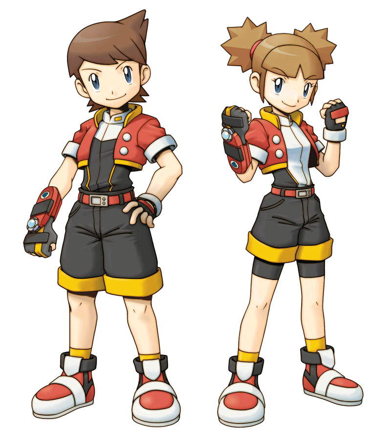 1boy 1girl artist_request belt black_gloves fingerless_gloves full_body gloves hajime_(pokemon) hitomi_(pokemon) looking_at_viewer official_art pokemon pokemon_(game) pokemon_ranger pokemon_ranger_2 pokemon_ranger_uniform red_footwear shoes shorts simple_background smile socks uniform white_background yellow_legwear