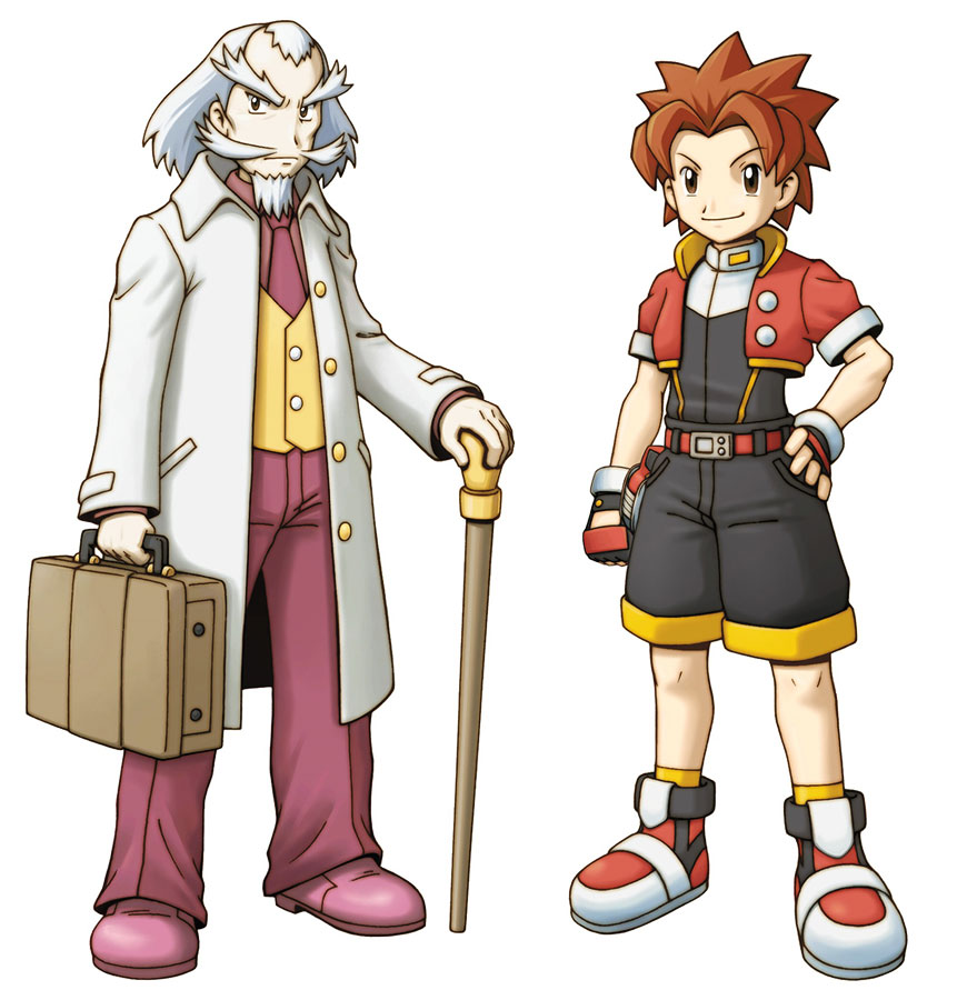 2boys artist_request bangs belt black_gloves black_shorts briefcase brown_eyes brown_hair dazzle_(pokemon) facial_hair fingerless_gloves full_body gloves hand_on_hip holding holding_briefcase holding_walking_stick long_sleeves looking_at_viewer male_focus medium_hair multiple_boys mustache necktie official_art old_man pants parted_bangs pocket pokemon pokemon_(game) pokemon_ranger pokemon_ranger_2 pokemon_ranger_uniform red_footwear serious shinbara_(pokemon) shoes short_sleeves shorts simple_background smile socks spiky_hair walking_stick white_background white_hair yellow_legwear
