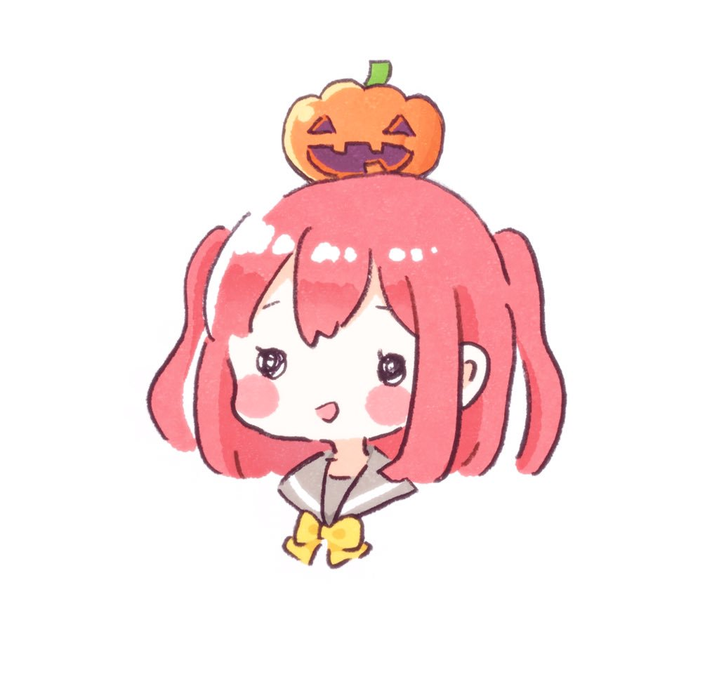 1girl :d ascii_media_works bangs blush_stickers bow bowtie bushiroad crayon halloween jack-o'-lantern kurosawa_ruby love_live! love_live!_sunshine!! moe object_on_head open_mouth redhead school_uniform serafuku short_hair simple_background smile solid_circle_eyes solo sunrise_(studio) two_side_up upper_body uranohoshi_school_uniform white_background yashino_84 yellow_neckwear