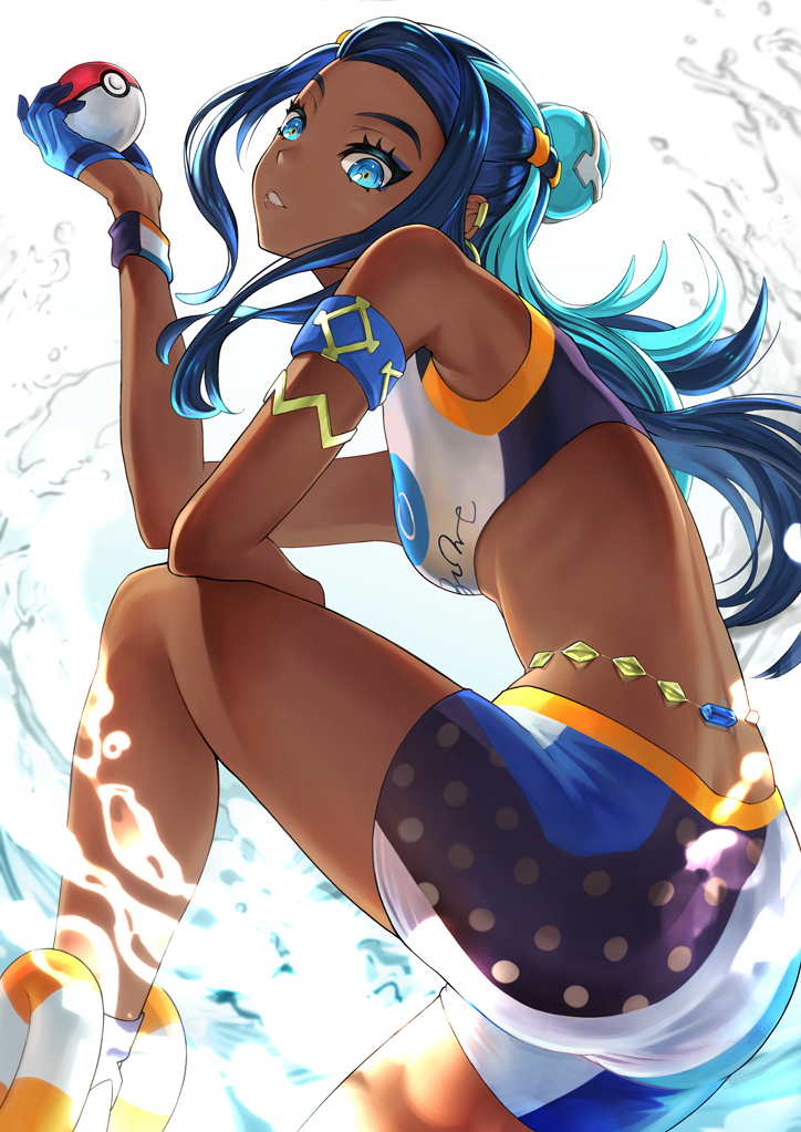 1girl aqua_hair armlet belly_chain blue_eyes blue_hair dark_skin earrings eyeliner eyeshadow gloves gym_leader hair_bun holding holding_poke_ball hoop_earrings jewelry long_hair makeup multicolored_hair partly_fingerless_gloves poke_ball pokemon pokemon_(game) pokemon_swsh rurina_(pokemon) single_glove sportswear swimsuit tankini two-tone_hair water wristband yoka1chi