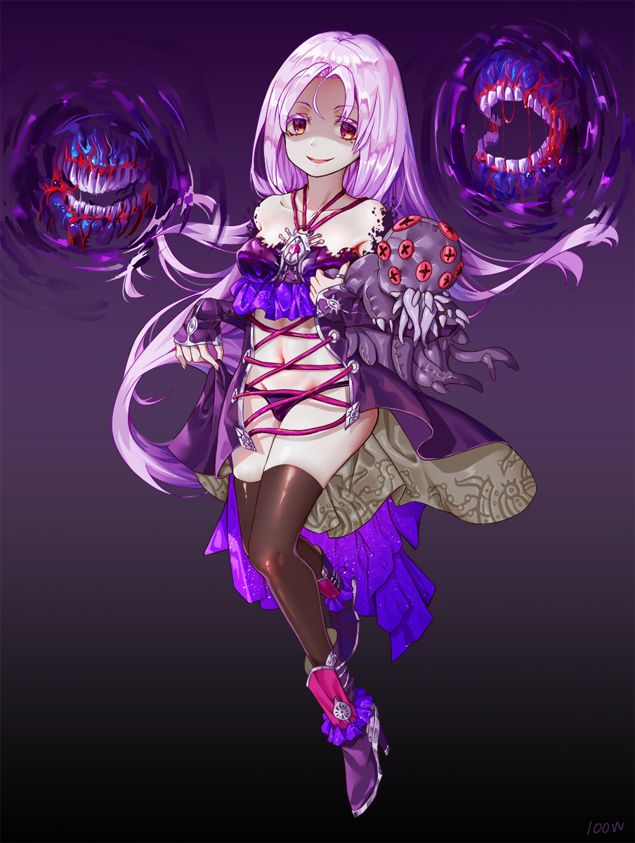1girl bangs bare_shoulders black_legwear bra breasts collarbone commentary_request eyebrows_visible_through_hair full_body highres jacket long_hair medium_breasts monster navel original panties purple_bra purple_footwear purple_jacket purple_panties red_eyes revealing_clothes shoes smile solo teeth thigh-highs underwear wangxiii white_hair