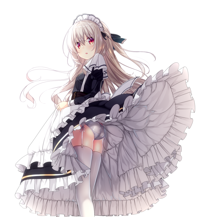 1girl apron ass bangs black_bow black_dress blush bow brown_hair commentary_request dress dress_lift eyebrows_visible_through_hair frilled_apron frilled_dress frills garter_belt hair_between_eyes hair_bow juliet_sleeves long_hair long_sleeves looking_at_viewer looking_back maid maid_headdress original panties panties_day parted_lips ponytail puffy_sleeves red_eyes solo thigh-highs underwear usume_shirou very_long_hair white_apron white_legwear white_panties