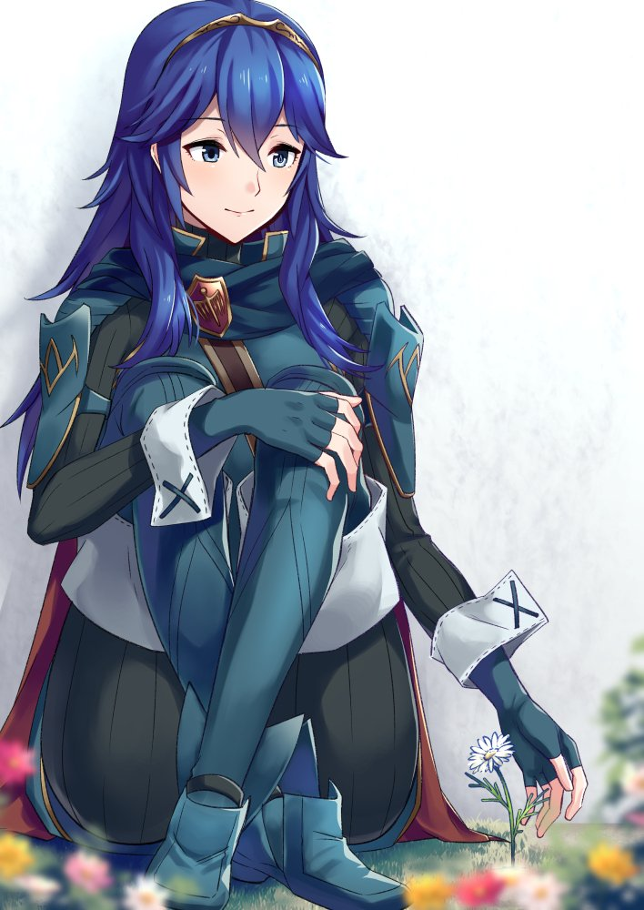 1girl a_meno0 blue_eyes blue_hair blush cape cute fingerless_gloves fire_emblem fire_emblem:_kakusei fire_emblem_awakening gloves hair_between_eyes intelligent_systems long_hair looking_at_viewer lucina lucina_(fire_emblem) moe nintendo parted_lips simple_background smile solo tiara