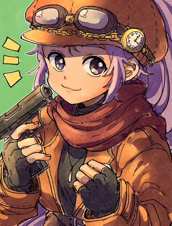 1girl arc_s0222 arc_the_lad clock closed_mouth commentary_request fingerless_gloves gloves gun handgun hat jewelry kukuru_(arc_the_lad) long_hair looking_at_viewer necklace purple_hair smile solo violet_eyes weapon