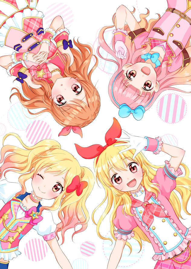 4girls :o ;) aikatsu! aikatsu!_(series) aikatsu_friends! aikatsu_stars! bangs bare_shoulders blonde_hair blue_bow blunt_bangs blush bow bow_choker braid brown_eyes brown_hair circle commentary_request cover cover_page crown_braid detached_sleeves doujin_cover eyebrows_visible_through_hair gloves gradient_hair hair_bow hair_ribbon hairband hoshimiya_ichigo idol interlocked_fingers jacket jewelry long_hair looking_at_viewer multicolored_hair multiple_girls neckerchief necklace nijino_yume one_eye_closed one_side_up oozora_akari open_mouth orange_hair pearl_necklace pink_bow pink_eyes pink_hair puffy_short_sleeves puffy_sleeves red_bow red_eyes ribbon short_sleeves skirt smile star tiramisu651 twintails waving wrist_cuffs yuuki_aine
