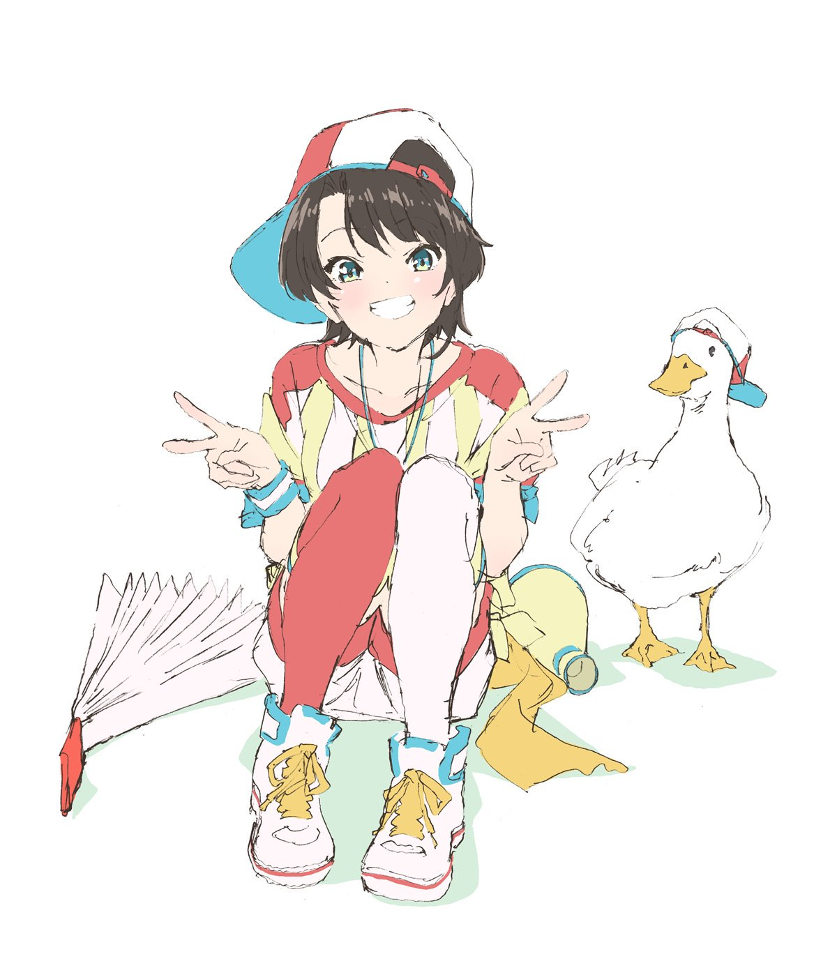 1girl backwards_hat beak bird black_hair blue_eyes collarbone double_v duck fan hat highres hololive looking_at_viewer marugayotsu multicolored multicolored_clothes multicolored_legwear oozora_subaru oozora_subaru_(duck) orange_legwear shadow shirt shoelaces shoes short_hair sitting smile striped striped_shirt striped_wristband teeth thigh-highs v vertical-striped_shirt vertical_stripes virtual_youtuber white_background white_footwear white_legwear wristband