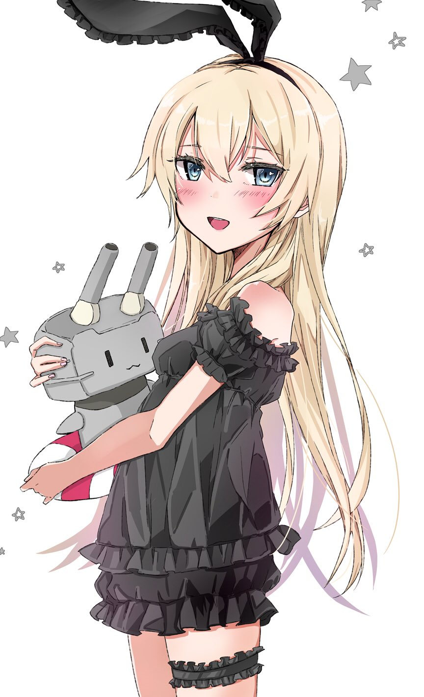 1girl 1other alternate_costume black_dress blonde_hair carrying casual chigasaki_y commentary_request cowboy_shot dress frilled_dress frills grey_eyes highres hug kantai_collection long_hair looking_at_viewer open_mouth rensouhou-chan shimakaze_(kantai_collection) simple_background smile standing white_background