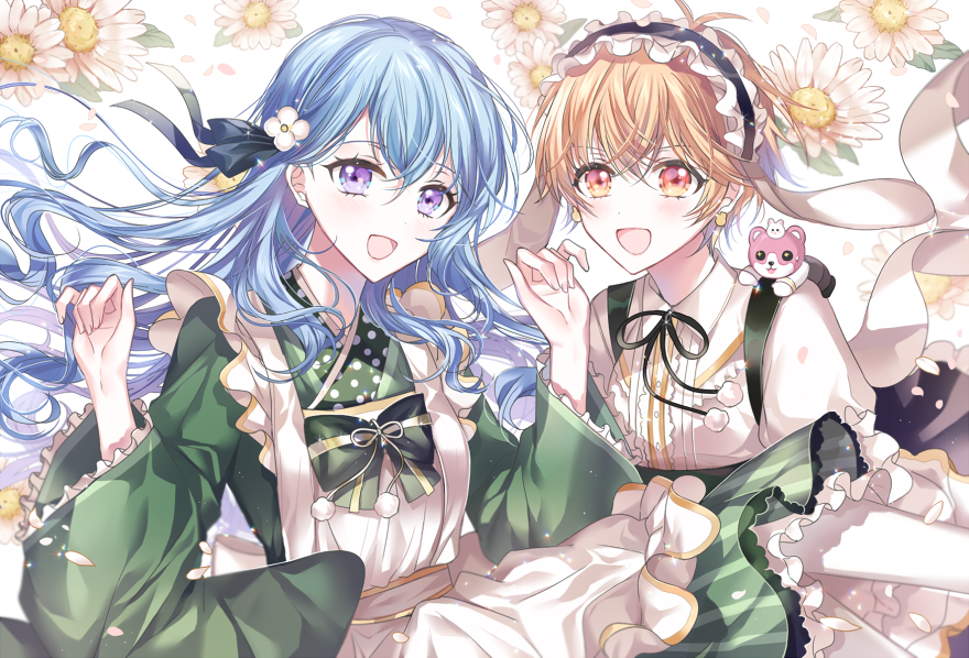 2girls :d antenna_hair apron bang_dream! bangs black_neckwear black_ribbon blue_hair bow bowtie clenched_hands crossed_bangs earrings fleur_de_lapin_uniform floral_background flower frilled_hairband frilled_sleeves frills gochuumon_wa_usagi_desu_ka? green_kimono green_neckwear hair_flower hair_ornament hair_ribbon hairband hands_up japanese_clothes jewelry kimono kitazawa_hagumi long_hair long_sleeves looking_at_viewer matsubara_kanon michelle_(bang_dream!) multiple_girls neck_ribbon nennen on_shoulder open_mouth orange_hair pom_pom_(clothes) rabbit_house_uniform red_eyes ribbon short_hair smile upper_body violet_eyes white_apron white_flower