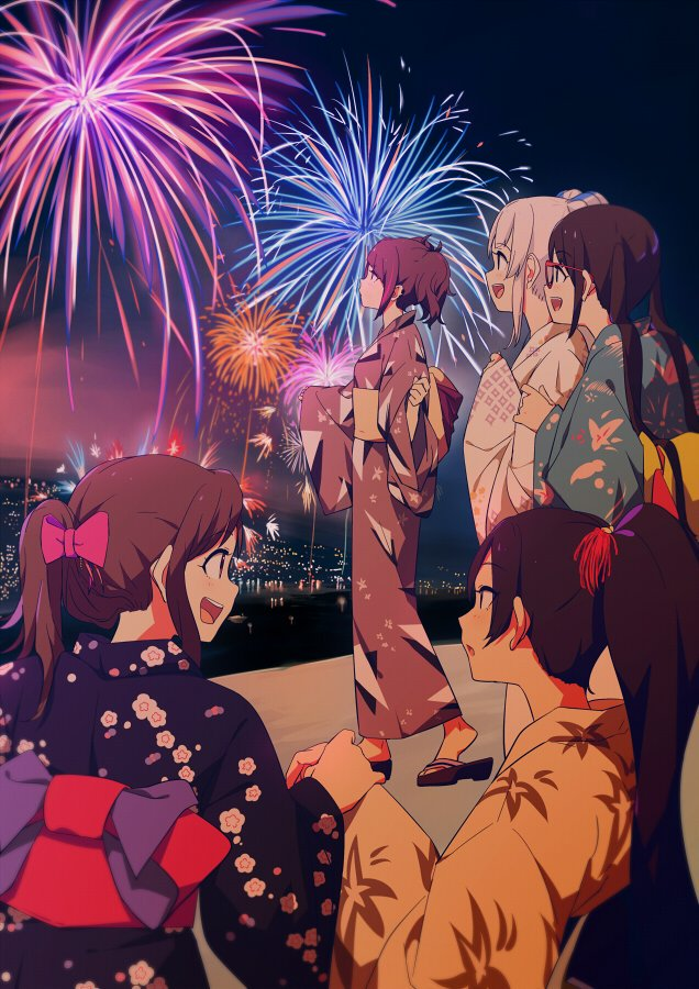 5girls :d alternate_costume black_hair black_kimono blue_kimono bow brown_hair fireworks floral_print from_behind hair_bow holding_hands idolmaster idolmaster_shiny_colors japanese_clothes kimono long_hair looking_away mitsumine_yuika multiple_girls night night_sky obi open_mouth pink_hair ponytail purple_hair purple_kimono red-framed_eyewear sash shirase_sakuya sidelocks sky smile sohin tanaka_mamimi tsukioka_kogane twintails wavy_hair white_kimono yellow_kimono yukata yuukoku_kiriko