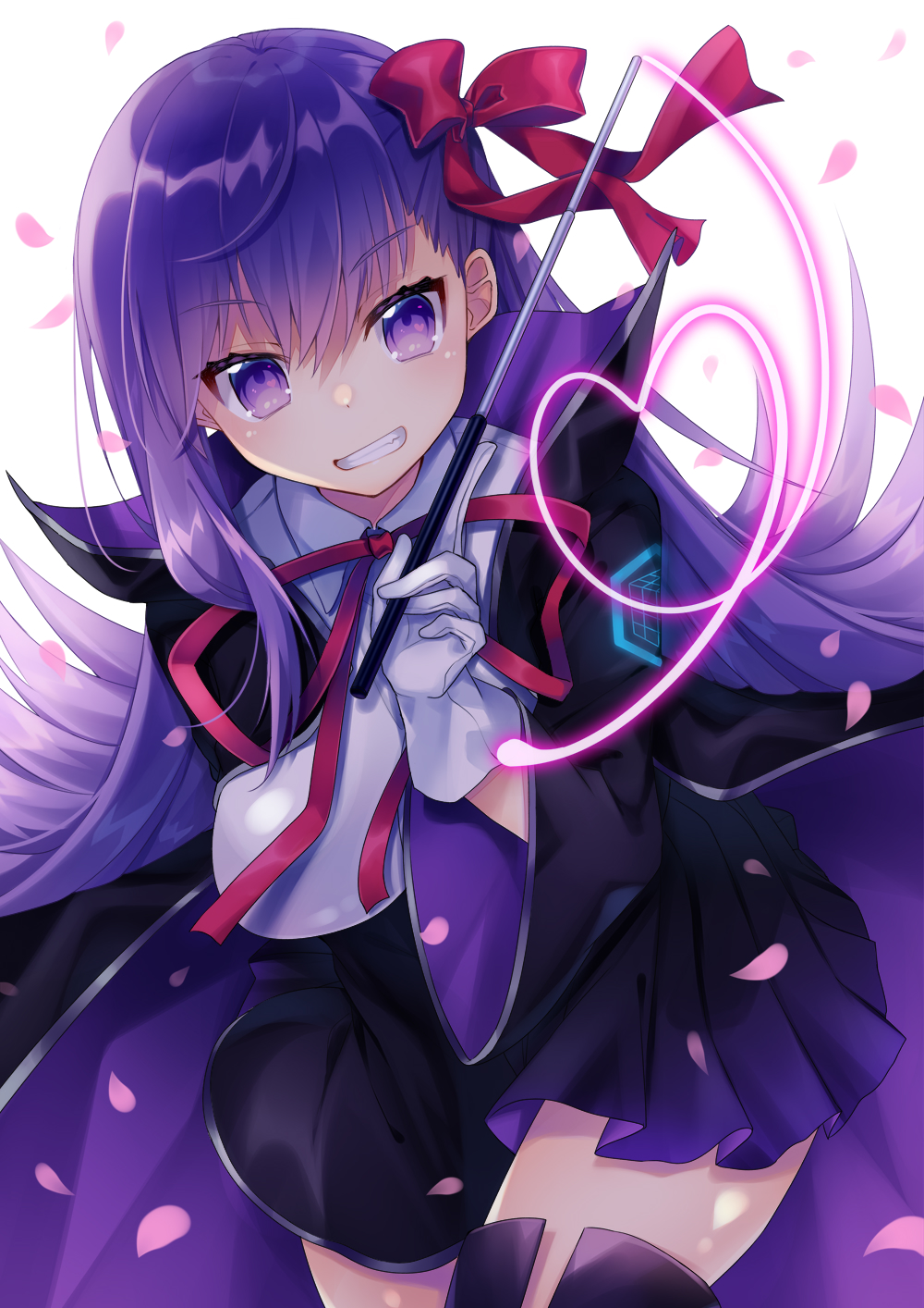 1girl bb_(fate)_(all) bb_(fate/extra_ccc) breasts eyebrows_visible_through_hair fate/extra fate/extra_ccc fate/grand_order fate_(series) gloves hair_ribbon highres holding holding_wand kusada_souta large_breasts long_hair long_sleeves looking_at_viewer purple_hair red_ribbon ribbon smile solo violet_eyes wand white_gloves