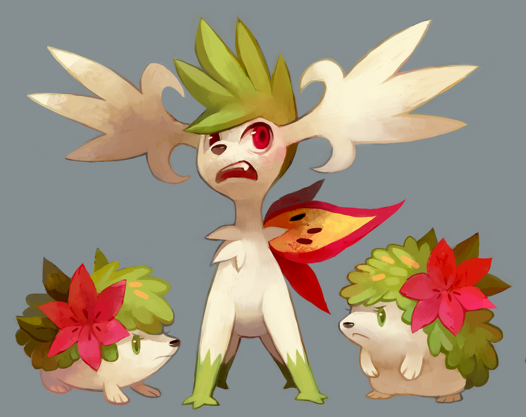 >:( eye_contact eyelashes frown full_body fushigi_no_dungeon gen_4_pokemon glitchedpuppet green_eyes grey_background image_sample legendary_pokemon looking_at_another looking_up no_humans pokemon pokemon_(creature) pokemon_(game) pokemon_fushigi_no_dungeon red_eyes shaymin simple_background standing v-shaped_eyebrows