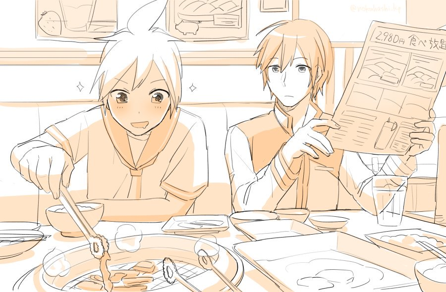 2boys blush bowl chopsticks coat cup food fruit grill holding holding_menu indoors kagamine_len kaito leaning_forward male_focus meat menu monochrome mouth_drool multiple_boys nokuhashi picture_(object) pig plate restaurant seat short_hair sitting sketch smile sparkle steam strawberry tongs vocaloid yakiniku