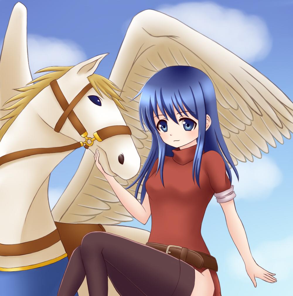 1girl 1other animal blue_eyes blue_hair caeda_(fire_emblem) cute fire_emblem fire_emblem:_monshou_no_nazo fire_emblem:_shin_ankoku_ryuu_to_hikari_no_tsurugi fire_emblem_mystery_of_the_emblem fire_emblem_shadow_dragon horse human intelligent_systems long_hair looking_at_viewer moe momen_(pixiv_7044761) nintendo pegasus pegasus_knight red_dress sheeda solo super_smash_bros. wings