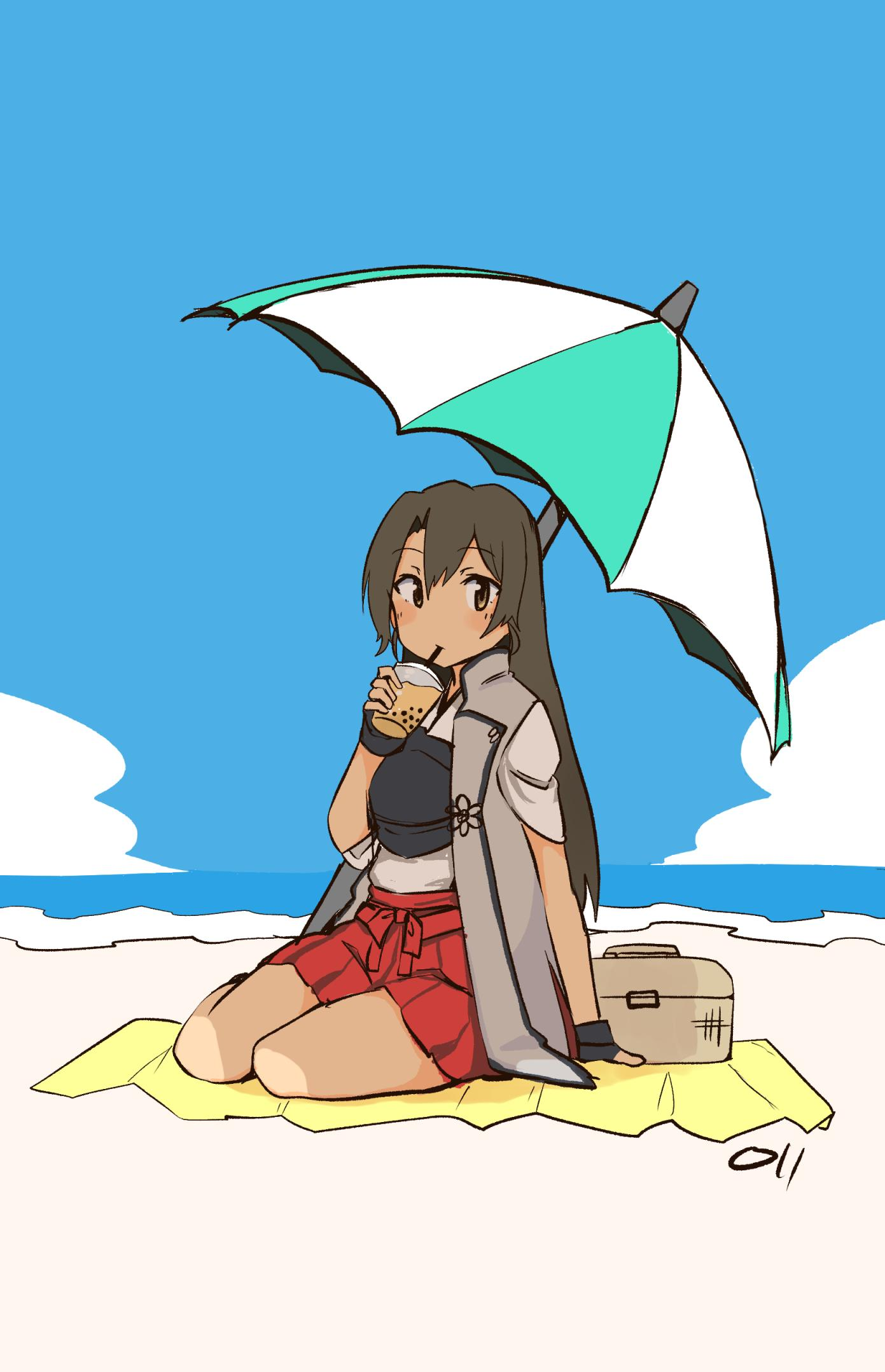 1girl basket beach black_gloves breastplate bubble_tea cup drinking fingerless_gloves full_body gloves green_eyes green_hair hair_down highres holding holding_cup jinbaori kantai_collection long_hair looking_at_viewer ma_rukan parasol sitting solo umbrella zuikaku_(kantai_collection)