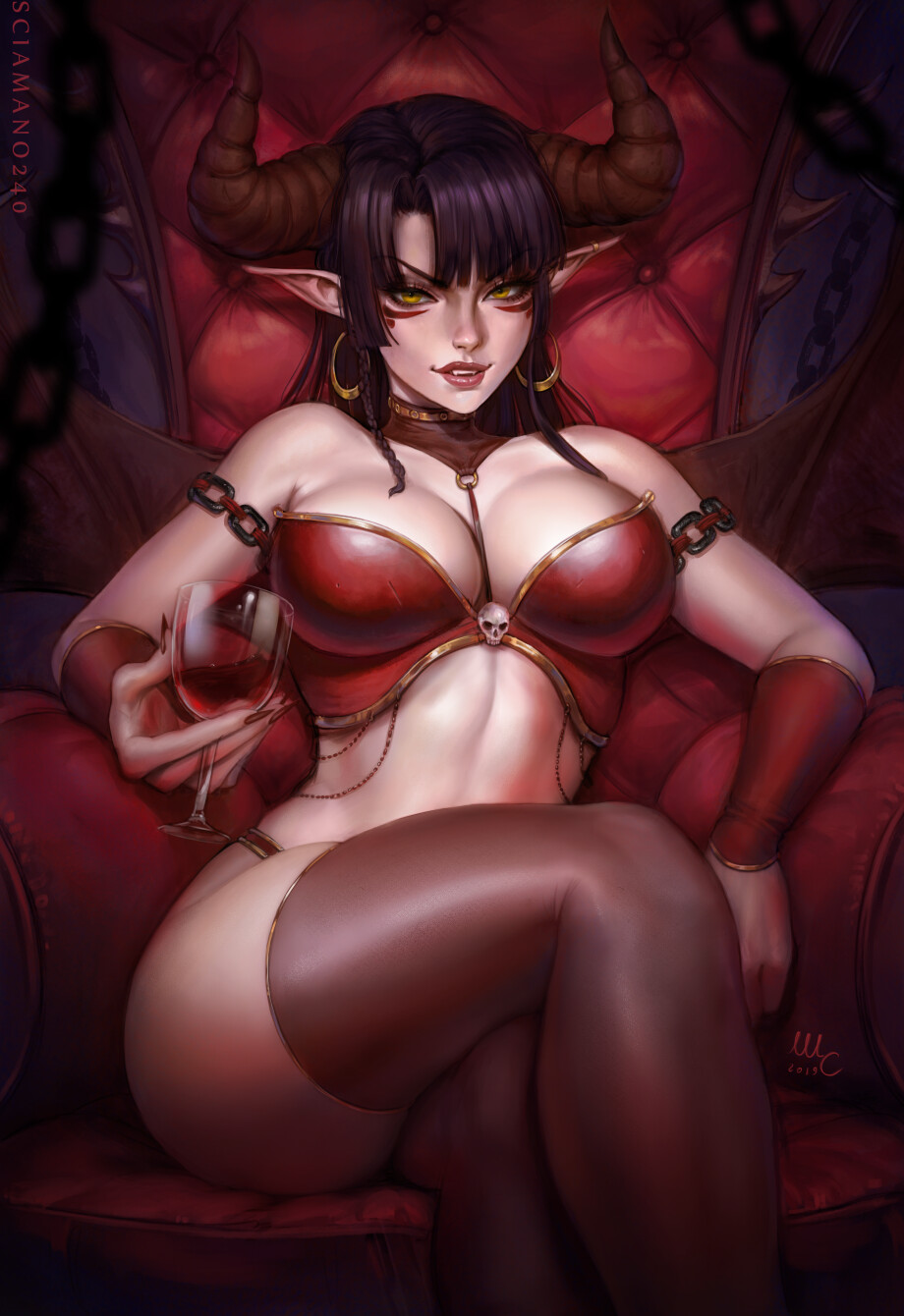 1girl alcohol armchair artist_name bangs black_hair black_legwear blunt_bangs blurry blurry_background blurry_foreground breasts bustier chain chair crossed_legs cup cupping_glass demon_girl demon_wings drinking_glass earrings eyebrows_visible_through_hair facepaint facial_mark fangs feet_out_of_frame fingernails halloween highres holding holding_cup hoop_earrings horns jewelry large_breasts lips lipstick long_fingernails long_hair looking_at_viewer makeup mascara original parted_lips pointy_ears red_lips red_nails red_theme sciamano240 sharp_fingernails signature sitting skull sneer solo spread_wings strapless succubus teeth thigh-highs thighs tsurime wine wine_glass wings wrist_cuffs yellow_eyes