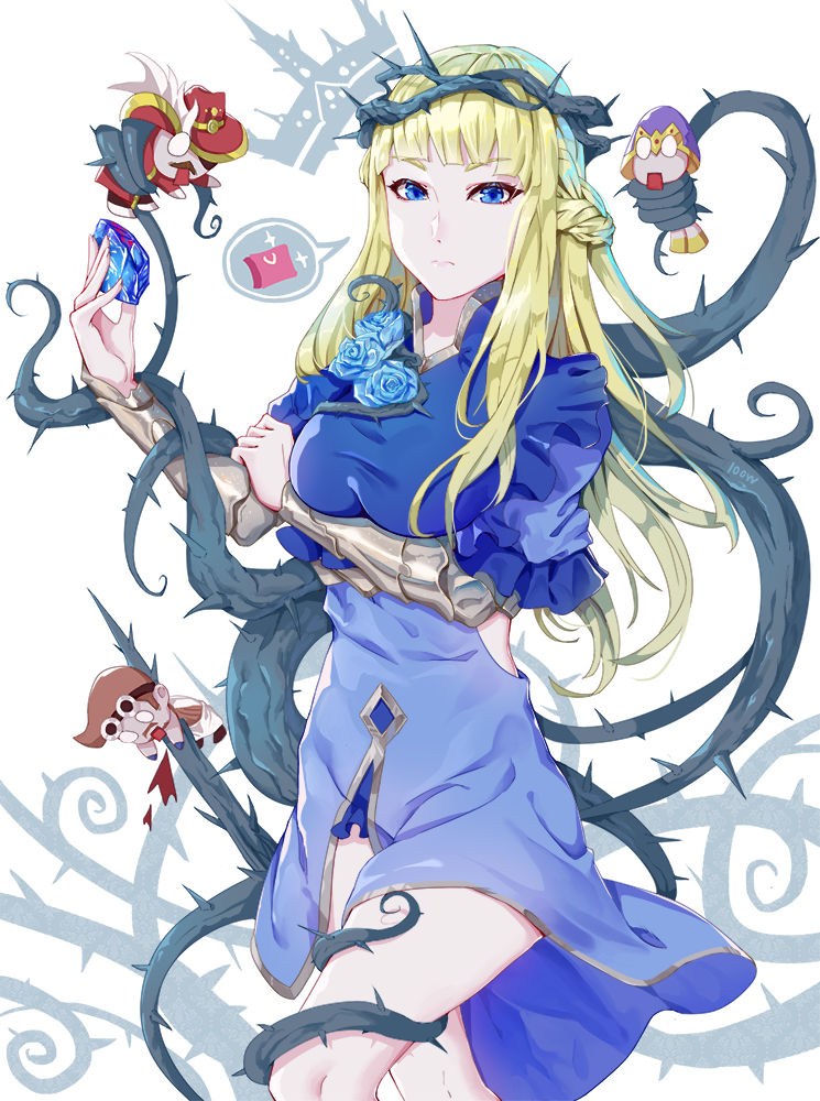 1girl 3boys bangs blonde_hair blue_dress blue_eyes blue_flower braid breasts commentary_request crown_of_thorns crusaders_quest dress flower frown gem holding large_breasts looking_at_viewer multiple_boys solo solo_focus thigh-highs thorns wangxiii zettai_ryouiki
