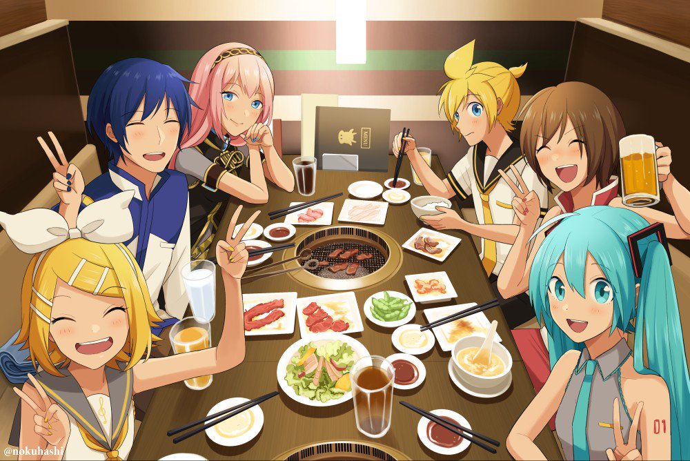 2boys 4girls ^_^ alcohol aqua_nails bare_arms bare_shoulders beer beer_mug black_sailor_collar blonde_hair blue_eyes blue_hair blue_nails blue_neckwear blush bowl brown_hair chewing chopsticks closed_eyes coat cup double_v elbows_on_table eyebrows_visible_through_hair fingernails food from_above glass grey_shirt hair_ornament hair_ribbon hairband hairclip happy hatsune_miku holding holding_chopsticks holding_cup indoors kagamine_len kagamine_rin kaito long_hair looking_at_viewer meat megurine_luka meiko multiple_boys multiple_girls musical_note necktie nokuhashi number_tattoo open_mouth pink_hair plate red_nails restaurant ribbon rice rice_bowl sailor_collar shirt short_hair shoulder_tattoo sitting sleeveless sleeveless_shirt smile spoon table tattoo teeth treble_clef twintails twitter_username upper_teeth v v-shaped_eyebrows very_long_hair vocaloid white_ribbon yellow_nails yellow_neckwear