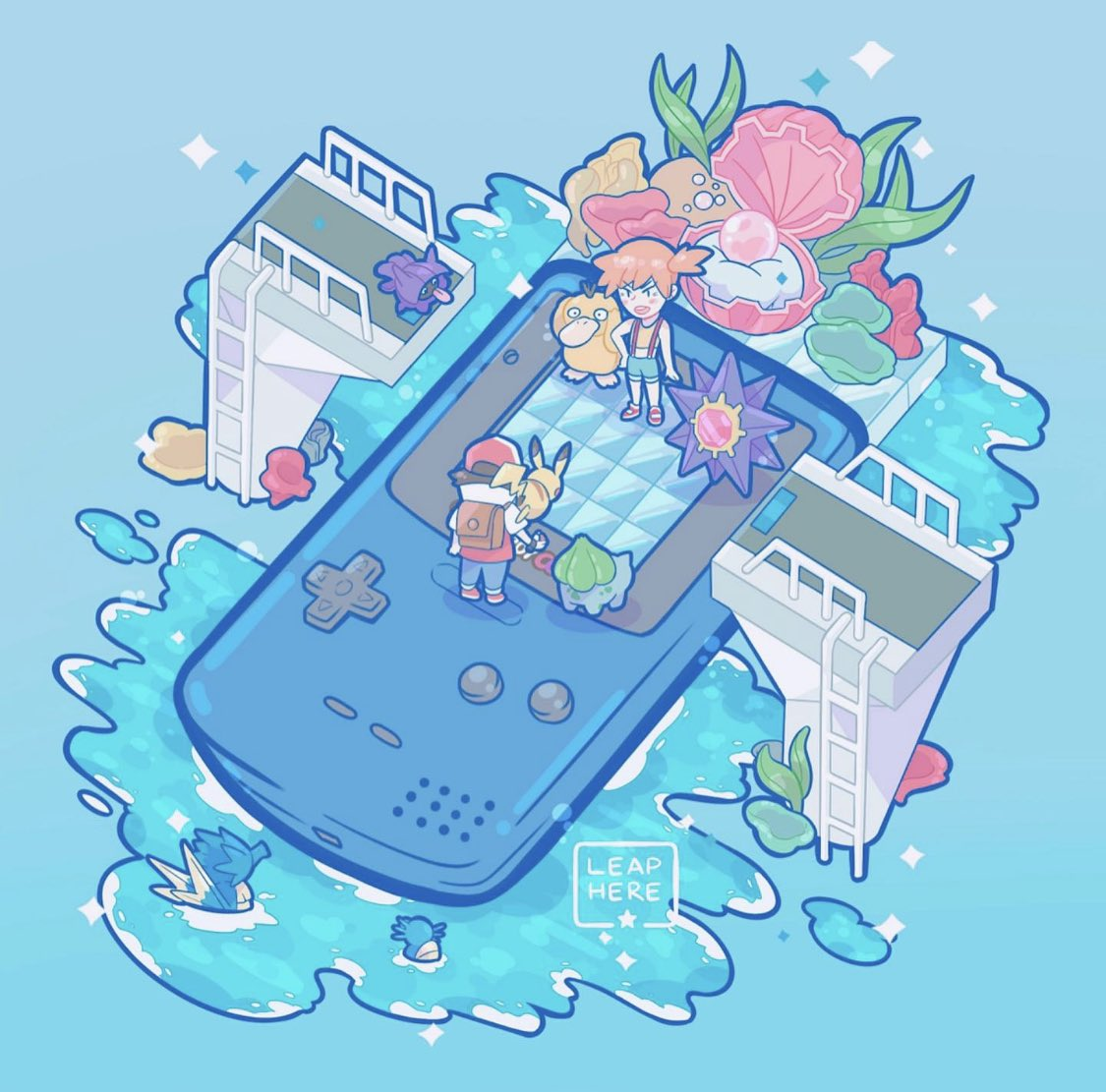 1boy 1girl backpack bag black_wristband blue_theme bridge bulbasaur commentary creature english_commentary game_boy_color gen_1_pokemon gym_leader handheld_game_console horsea kasumi_(pokemon) ladder pearl_(gemstone) pikachu pokemon pokemon_(anime) pokemon_(classic_anime) pokemon_(creature) pokemon_(game) pokemon_gym pokemon_on_shoulder pokemon_rgby pokemon_trainer psyduck red_(pokemon) seadra seashell shell shellder side_ponytail signature starmie tongue tongue_out water yamato-leaphere