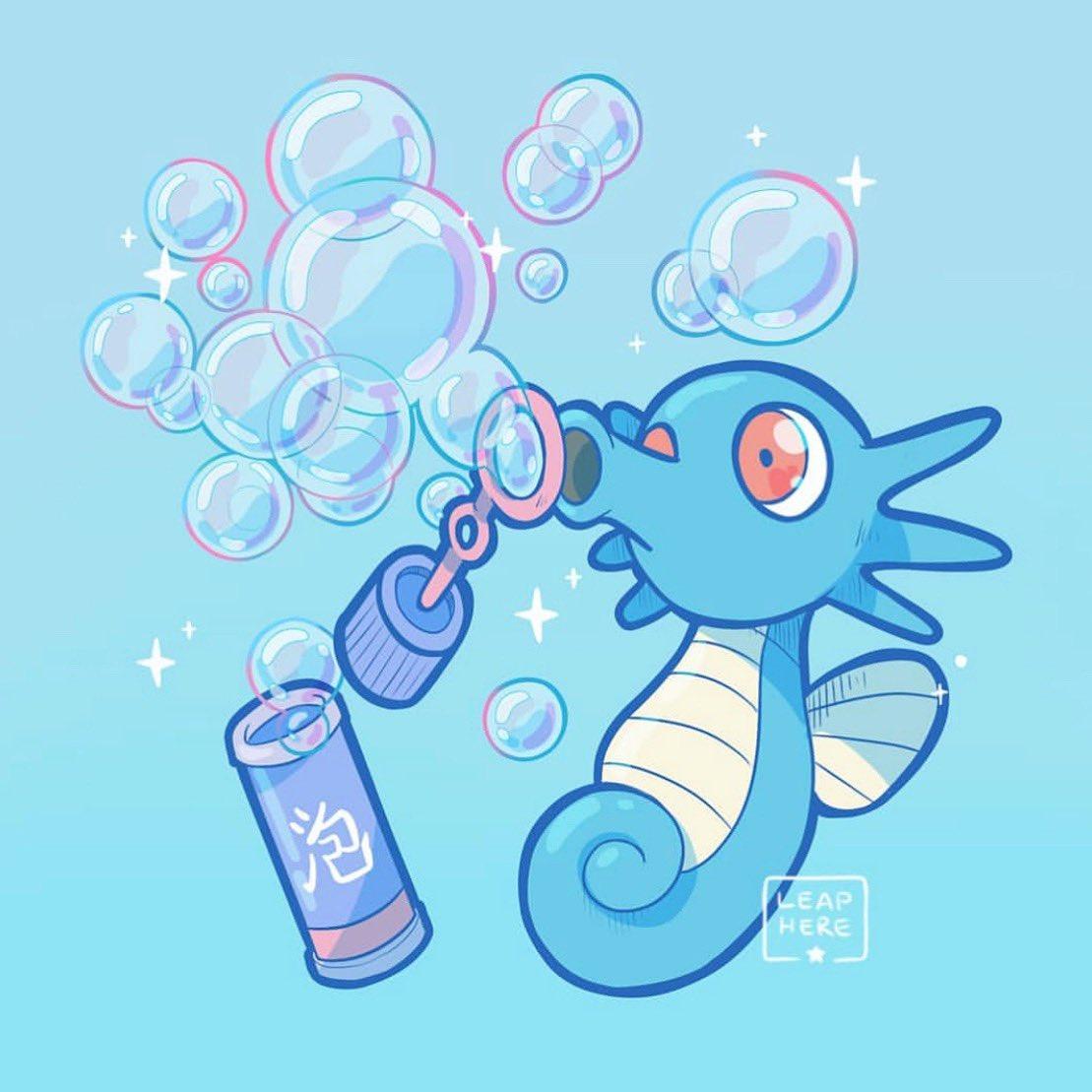 blue_background bubble commentary creature english_commentary full_body gen_1_pokemon horsea no_humans pokemon pokemon_(creature) simple_background solo yamato-leaphere