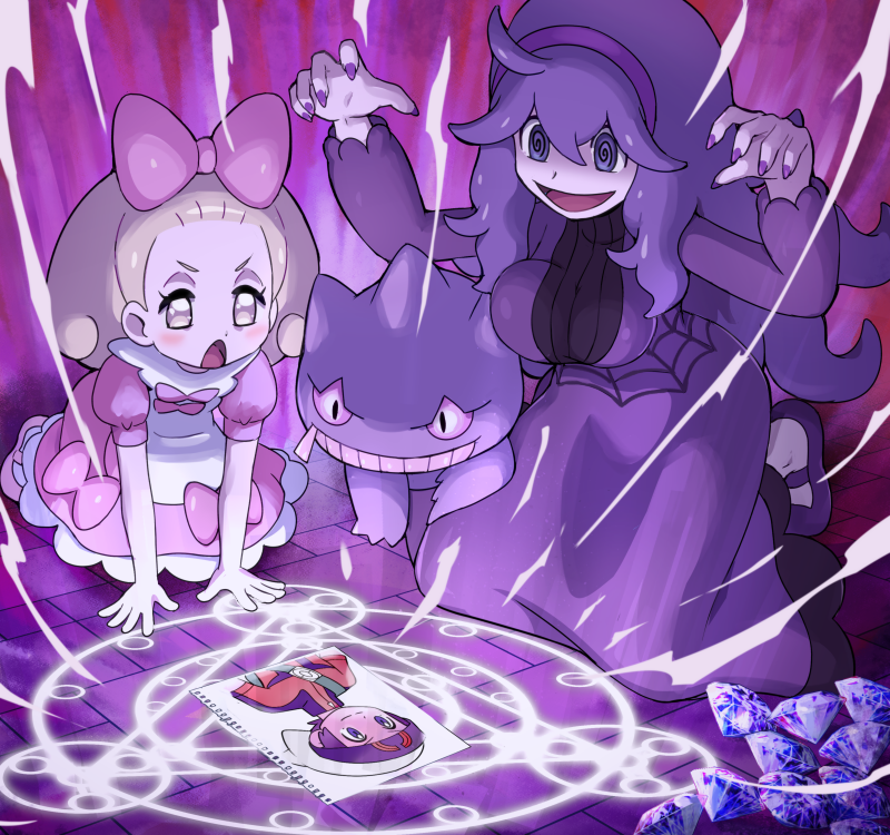 2girls @_@ ahoge al_bhed_eyes apron banette blonde_hair bow breasts commentary dress fairy_tale_girl_(pokemon) frilled_dress frills full_body gem gen_3_pokemon hair_bow hairband heart hex_maniac_(pokemon) kneeling large_breasts long_hair messy_hair multiple_girls open_mouth photo_(object) pink_dress pokemoa pokemon pokemon_(creature) pokemon_(game) pokemon_masters purple_footwear purple_hair purple_hairband smile violet_eyes white_apron yuuki_(pokemon)