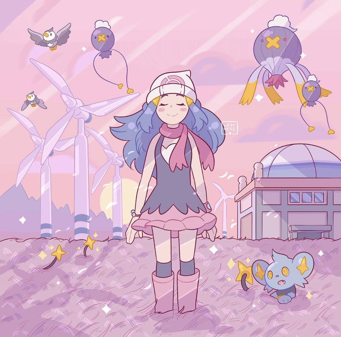 1girl barrette bird black_dress black_legwear blue_hair boots building closed_eyes commentary creature day dress drifblim drifloon english_commentary fang flat_chest flying gen_4_pokemon grass hair_ornament happy hikari_(pokemon) long_hair pink_footwear pink_theme pokemon pokemon_(creature) pokemon_(game) pokemon_dppt scarf shinx sidelocks sky sleeveless sleeveless_dress smile socks standing starly valley_windworks wind_turbine windmill window yamato-leaphere yellow_eyes