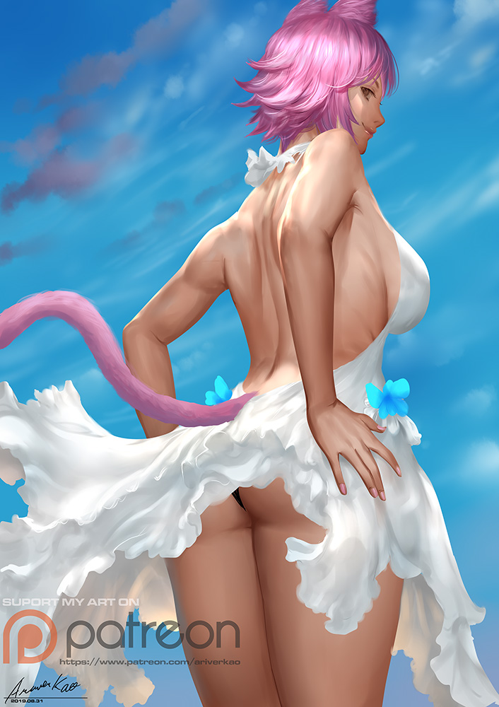 1girl animal_ears ariverkao ass backless_dress backless_outfit black_panties blue_sky breasts brown_eyes cat_ears cat_tail day dress hands_on_hips large_breasts looking_at_viewer looking_back original outdoors panties patreon_logo pink_hair short_hair sky smile solo tail underwear watermark web_address