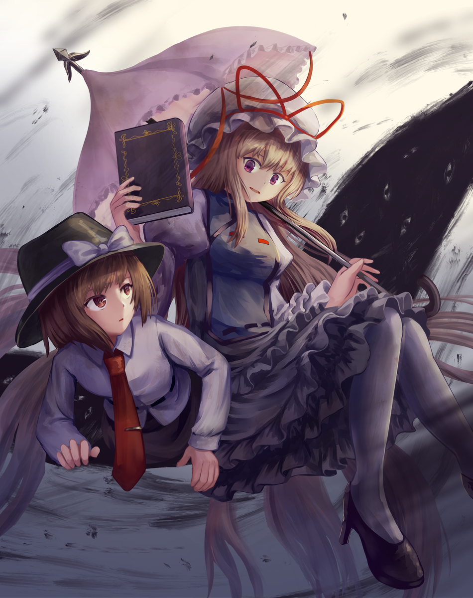 2girls :o bangs belt black_footwear blonde_hair book brown_eyes brown_hair brown_headwear commentary dress english_commentary foot_out_of_frame frilled_skirt frills gap gradient gradient_background grey_background hat hat_ribbon high_heels highres holding holding_book holding_umbrella juliet_sleeves knees_together_feet_apart long_hair long_sleeves looking_at_another looking_back looking_down looking_up mob_cap multiple_girls necktie ookashippo pantyhose parasol parted_lips puffy_sleeves red_neckwear ribbon shirt short_hair sitting skirt tabard tie_clip touhou umbrella untucked_shirt upper_body usami_renko very_long_hair violet_eyes white_dress white_headwear white_legwear white_shirt yakumo_yukari