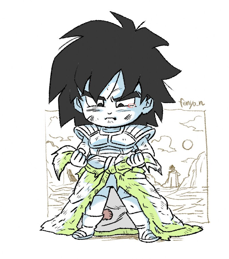1boy :t adjusting_clothes armor artist_name bike_shorts black_eyes black_hair boots broly_(dragon_ball_super) chibi commentary_request crying crying_with_eyes_open dirty dirty_clothes dirty_face dragon_ball dragon_ball_super_broly fenyon frown full_body legs_apart looking_down male_focus monkey_tail pout sad shaded_face standing tail tears v-shaped_eyebrows waist_cape