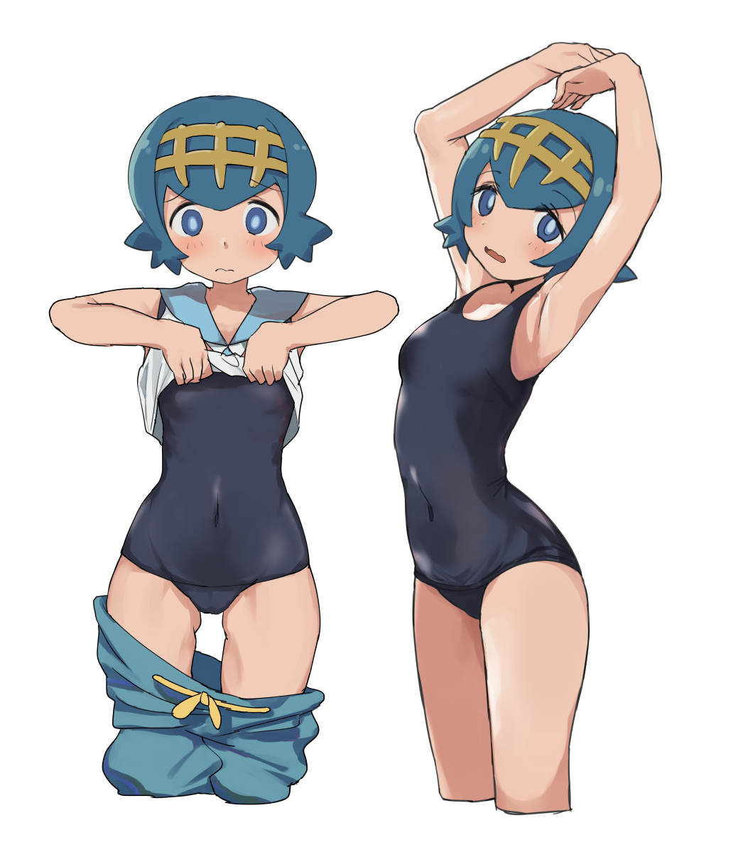 armpits arms_up blue_eyes blue_hair blush covered_navel hairband highres lifted_by_self looking_at_viewer niizuka_(c-drop) one-piece_swimsuit open_mouth pokemon pokemon_(game) pokemon_sm shirt_lift short_hair shorts shorts_pull suiren_(pokemon) swimsuit trial_captain wavy_mouth