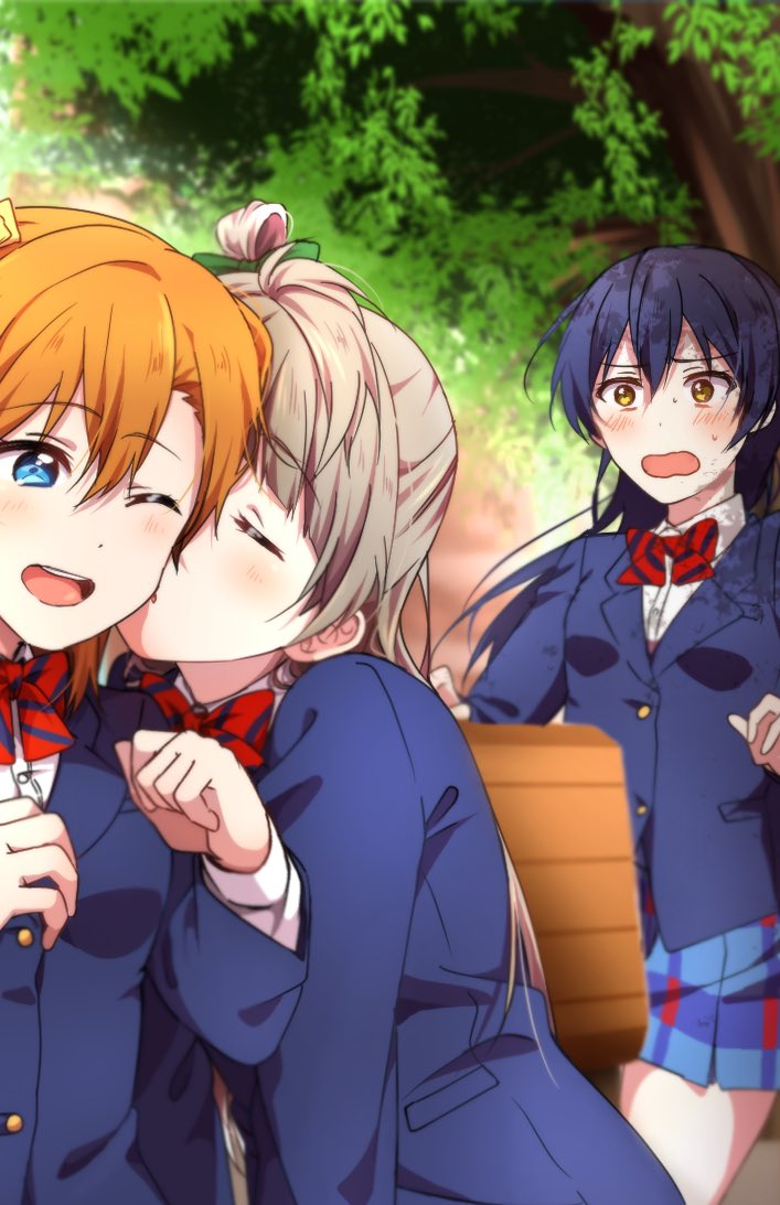 3girls bangs blazer blue_eyes blue_hair bow bowtie cheek_kiss closed_eyes commentary_request eyebrows_visible_through_hair grey_hair hair_between_eyes hair_bow jacket kiss kousaka_honoka long_hair long_sleeves looking_at_another love_live! love_live!_school_idol_festival love_live!_school_idol_project minami_kotori multiple_girls oda_(101511a) one_eye_closed one_side_up open_mouth orange_hair otonokizaka_school_uniform pleated_skirt red_neckwear school_uniform skirt sonoda_umi striped striped_neckwear yellow_bow yellow_eyes