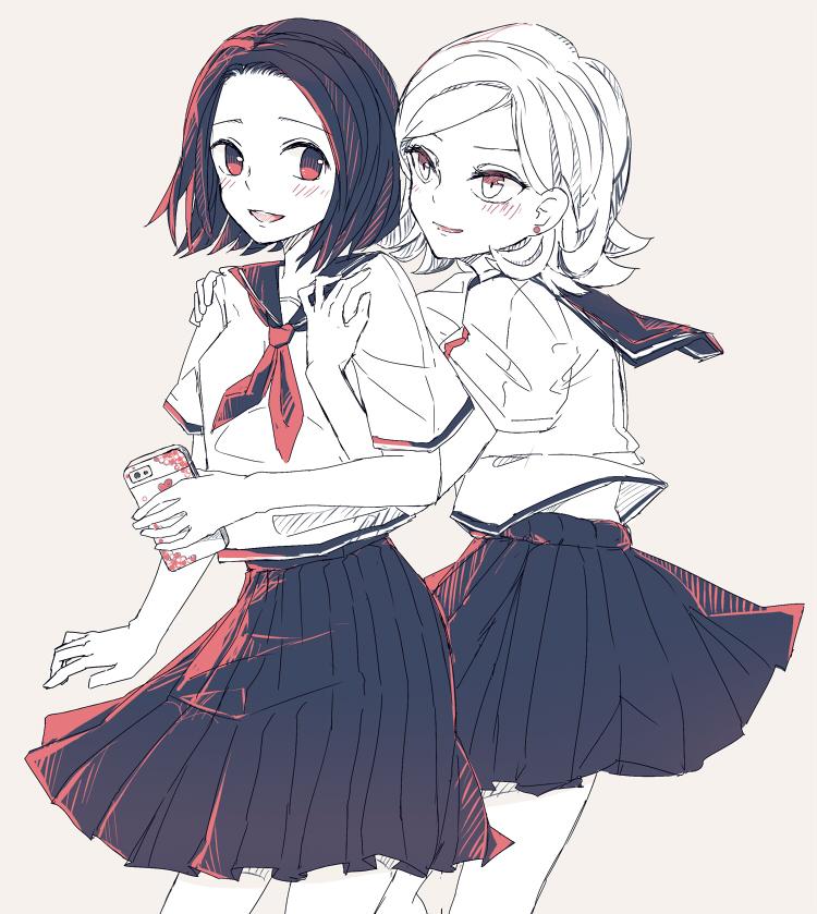 2girls blush cellphone flipped_hair fuugetsu_hui_guo_rou hug hug_from_behind hunter_x_hunter kachou_hui_guo_rou multiple_girls nanzan phone school_uniform short_hair siblings smile twins