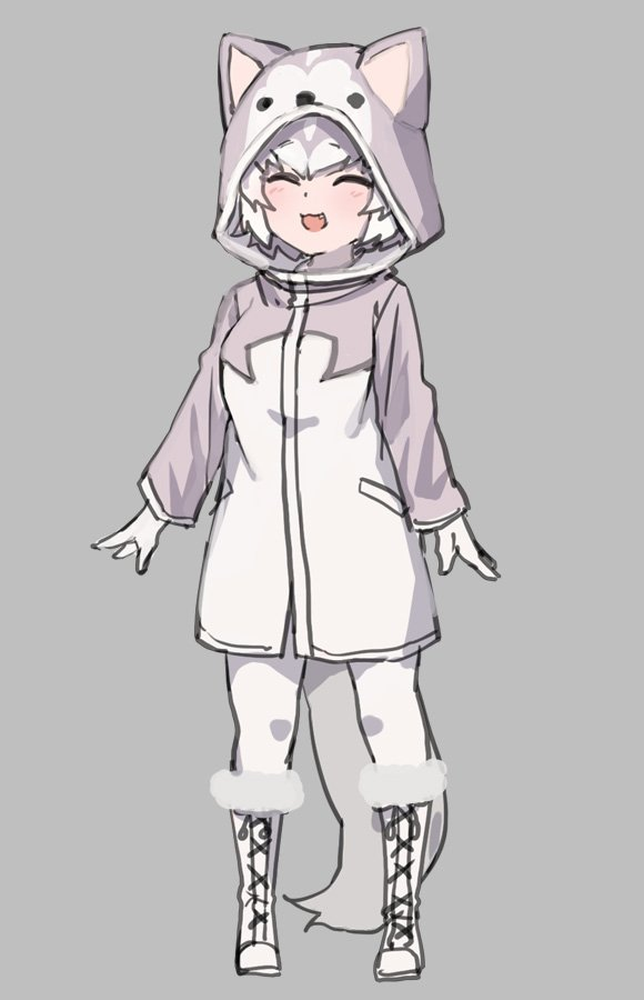 1girl :3 :d ^_^ animal_hood arm_at_side boots closed_eyes commentary cross-laced_footwear dog_(mixed_breed)_(kemono_friends) dog_hood dog_tail fang full_body gloves grey_background grey_hair hood hood_up kemono_friends knee_boots long_sleeves multicolored_hair nyifu open_mouth pantyhose raincoat short_hair simple_background smile solo tail two-tone_hair white_footwear white_gloves white_hair white_legwear