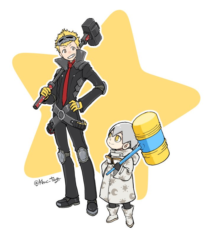 2boys atlus black_gloves blonde_hair boots child coat gloves goggles goggles_around_neck grey_hair hammer hand_on_hip jose_(persona) jumpsuit knee_pads looking_at_another male_focus mask megami_tensei multiple_boys necktie outline patterned_clothing persona persona_5 persona_5_the_royal piko_piko_hammer sakamoto_ryuuji shin_megami_tensei simple_background sledgehammer star toy tsugu white_background white_outline yellow_eyes yellow_gloves young_adult