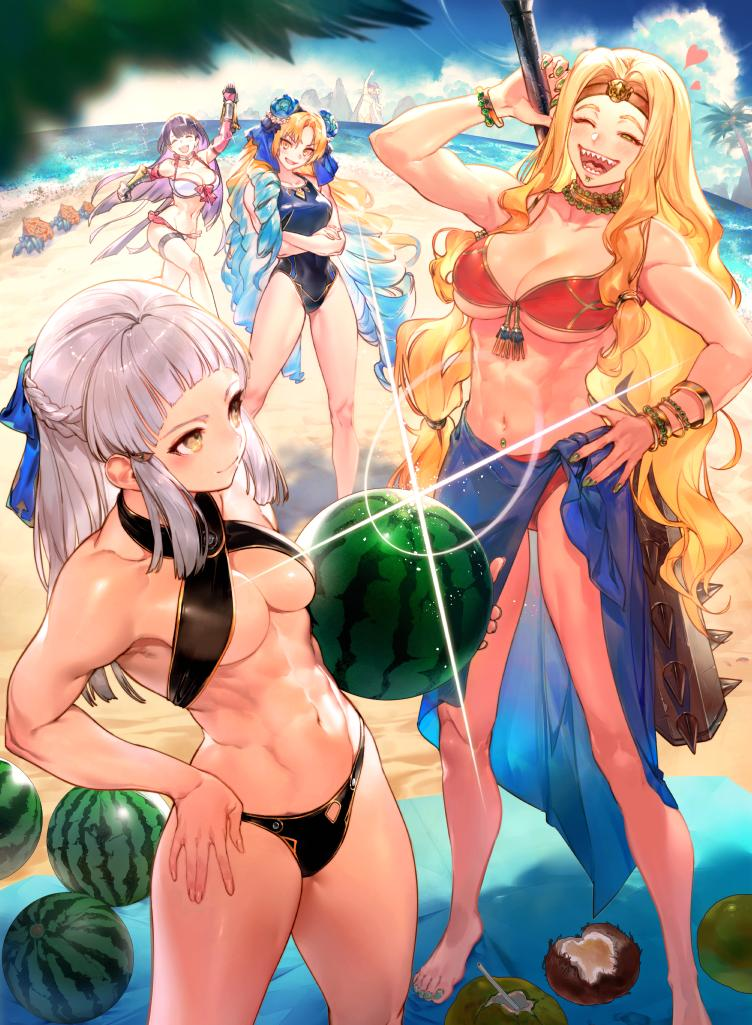 astraea_(fate/grand_order) bikini blonde_hair blue_hair bracelet breasts club coconut crossed_arms drill_hair fate/grand_order fate_(series) food fruit gradient_hair green_nails hand_on_hip jewelry kanabou kingprotea kodama_(wa-ka-me) large_breasts medium_breasts multicolored_hair muscle muscular_female navel one-piece_swimsuit one_eye_closed penthesilea_(fate/grand_order) purple_hair quetzalcoatl_(fate/grand_order) saint_martha saint_martha_(swimsuit_ruler)_(fate) sharp_teeth swimsuit teeth watermelon weapon white_hair