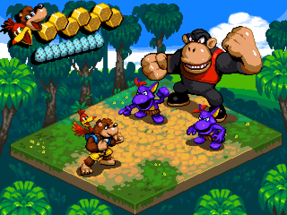 ape backpack bag banjo-kazooie banjo_(banjo-kazooie) bear bird blue_eyes camisole commentary egg english_commentary fake_screenshot fighting_stance forest full_body green_eyes isometric jewelry kazooie_(banjo-kazooie) looking_at_another nature pendant pixel_art pointing pointing_forward red_eyes shoes shorts size_difference sovanjedi standing super_mario_rpg tree user_interface