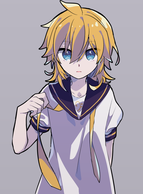 1boy bass_clef black_collar blonde_hair blue_eyes collar collared_shirt expressionless hand_up holding_necktie kagamine_len looking_at_viewer male_focus medium_hair necktie parted_lips sailor_collar school_uniform shirt short_sleeves simple_background solo spiky_hair standing undressing upper_body vocaloid white_shirt yellow_neckwear yoshiki