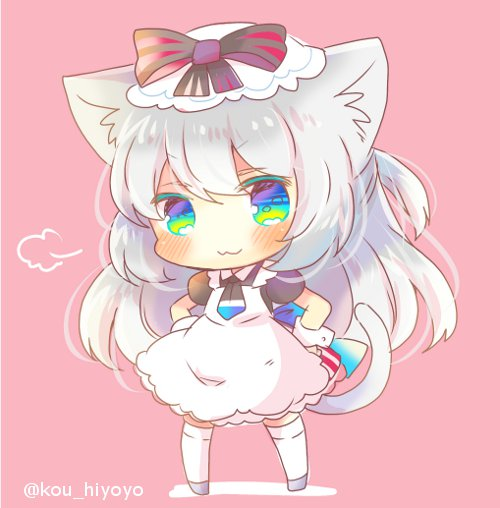 1girl :3 animal_ear_fluff animal_ears apron azur_lane bangs black_bow black_shirt blue_eyes blush bow brown_background cat_ears cat_girl cat_tail chibi closed_mouth eyebrows_visible_through_hair full_body green_eyes grey_footwear hammann_(azur_lane) hands_on_hips kouu_hiyoyo long_hair looking_at_viewer maid_apron multicolored multicolored_eyes one_side_up puffy_short_sleeves puffy_sleeves shirt short_sleeves silver_hair solo standing striped striped_bow tail thigh-highs twitter_username very_long_hair white_apron white_legwear wrist_cuffs