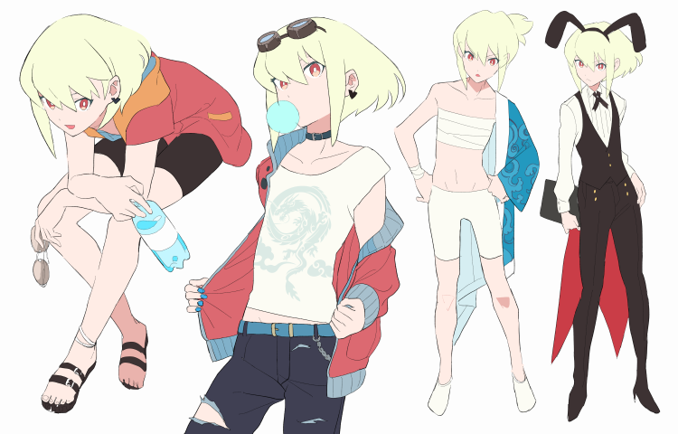 1boy animal_ears anklet bottle bubble_blowing casual chewing_gum choker formal goggles goggles_on_head green_hair hidaka hood jewelry lio_fotia male_focus open_mouth pants ponytail promare rabbit_ears sandals sarashi shirt short_hair sitting smile suit sunglasses torn_clothes torn_pants violet_eyes water_bottle